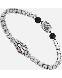 Montblanc Venezianerketten-armband In Silber Mit Schlangenmotiv Und Onyxkugeln - Mettallic