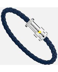 Montblanc Armband Aus Geflochtenem Blauem Leder Mit Drei Ringen