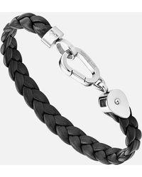 Montblanc Wrap Me Armband Aus Geflochtenem Leder - Schwarz