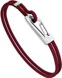 Montblanc - Bracelet In Woven Red Leather With Steel Carabiner Closure Male - Lyst