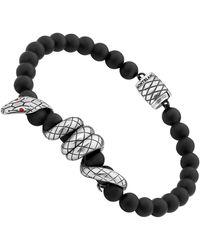 Montblanc Armband aus Onyxkugeln mit Schlangenmotiv - Schwarz