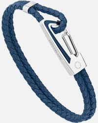 Montblanc Armband Aus Geflochtenem Blauem Leder Mit Karabinerschließe Aus Edelstahl Und Blauer Lackintarsie