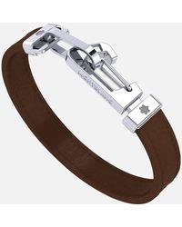 Montblanc Armband Aus Braunem Leder Mit Karabinerverschluss Aus Edelstahl