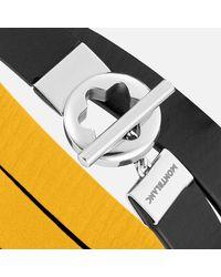 Montblanc Pulsera De Piel Doble Faz Color Amarillo-negro