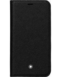 Montblanc Sartorial Flip Side Cover mit 2 cc und Sichtfach für das Apple iPhone XS - Schwarz