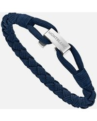 Montblanc Wrap Me Armband Aus Nylon Und Edelstahl In Blau