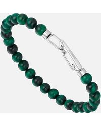 Montblanc Wrap Me Armband Aus Edelstahl Und Tigerauge - Grün