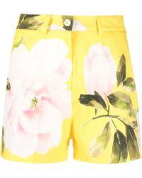 Valentino Rose-print Tailored Shorts - Yellow