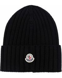Moncler Rib-knit Logo Beanie - Black
