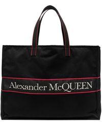 Alexander McQueen East West Logo Tote Bag - Black