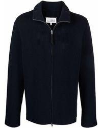 Maison Margiela Ribbed-knit Zip-front Cardigan - Blue