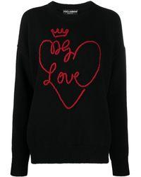 Dolce & Gabbana Love-embroidered Sweater - Black