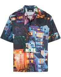 MSGM Landscape-print Short-sleeve Shirt - Blue