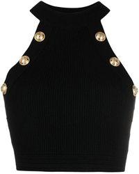 Balmain Button-detail Halterneck Top - Black