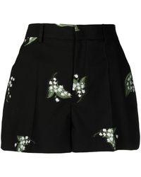 RED Valentino May Lily Jacquard Shorts - Black