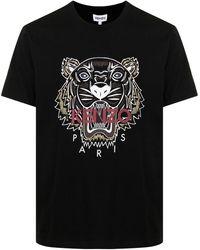 KENZO Tiger-print Cotton T-shirt - Black