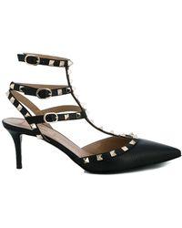 Valentino Garavani Valentino Garavani Leather 'rockstud' Heeled Court Shoes - Black