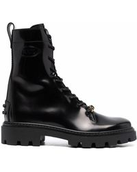 Tod's Logo-plaque Leather Boots - Black