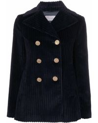 RED Valentino Button-embellished Corduroy Peacoat - Blue