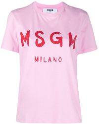 MSGM T-Shirt Stampa Logo - Rosa