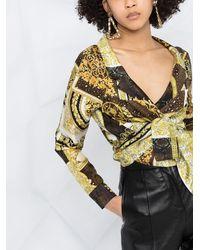 Versace Printed Cropped Shirt - Brown