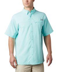 Columbia Grander Marlin Woven Ss Shirt - Blue