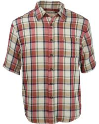 Purnell Double Sided Plaid Button Up Ss Shirt - Red