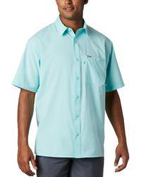 Columbia Pfg Zero Rules Woven Ss Shirt - Blue