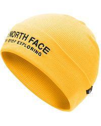 The North Face Wide Cuff Embroidered Beanie - Yellow