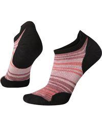 Smartwool Phd Run Ultra Light Striped Micro Sock - Black