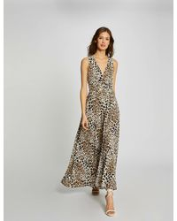Morgan Robe longue évasée imprimé léopard - Multicolore