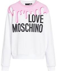 Love Moschino Sweat Logo Drip - Blanc