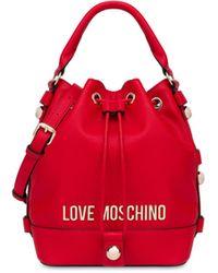 Love Moschino Borsa A Secchiello Con Logo E Borchie - Rosso