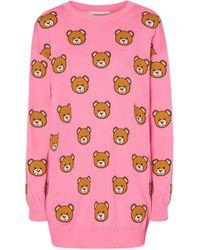 Moschino Allover Teddy Bear Knit Dress - Pink