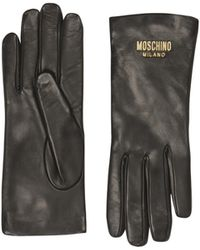 Moschino Leather Gloves With Logo - Black