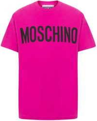 Moschino T-shirt In Jersey Con Logo - Rosa