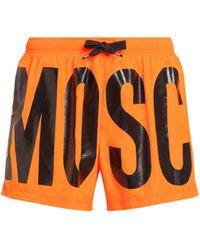 Moschino Boxer Mare Fluo Con Logo - Arancione