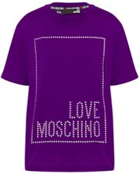 Love Moschino T-shirt En Jersey Square Logo - Violet