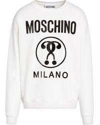 Moschino Sweat-shirt En Coton Avec Impression Double Question Mark - Blanc