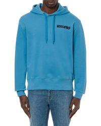 Moschino Sweatshirt À Capuche Logo Symboles - Bleu