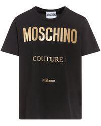Moschino - Jersey-t-shirt Mit Laminiertem Logo - Lyst