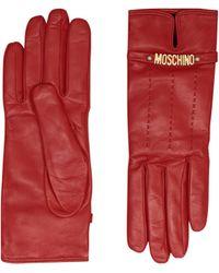 Moschino Guanti In Pelle Con Mini Lettering Logo - Rosso