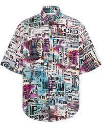 Moschino Camicia In Popeline Allover Glitch - Multicolore