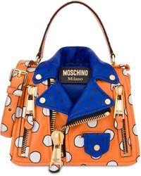 Moschino Biker Bag En Cuir Nappa Polka Dots - Orange