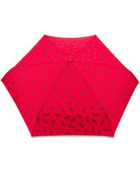 Moschino Parapluie Mini Avec Logo All Over - Rouge