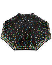 Moschino Ombrello Openclose Multicolor Lettering - Nero
