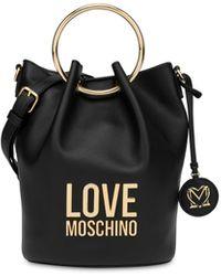 Love Moschino Borsa A Secchiello Con Manici Gold Metal Logo - Nero