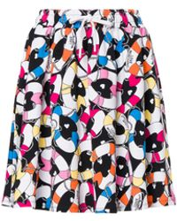 Love Moschino Lifesaver Hearts Stretch Fleece Skirt - Black