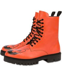 Moschino Combat Boots Pumpkin Faces - Orange