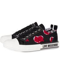Love Moschino Sneakers En Canvas Brushstroke Hearts - Noir